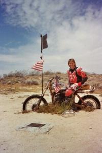 The famous Husky memorial in the Mojave desert.