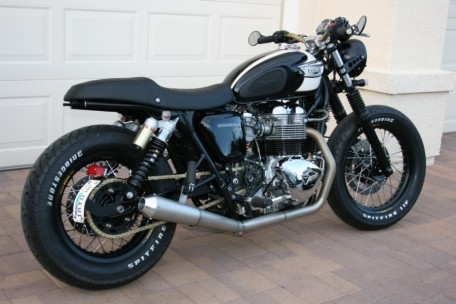 A café style, modified T100. Drop dead gorgeous.
