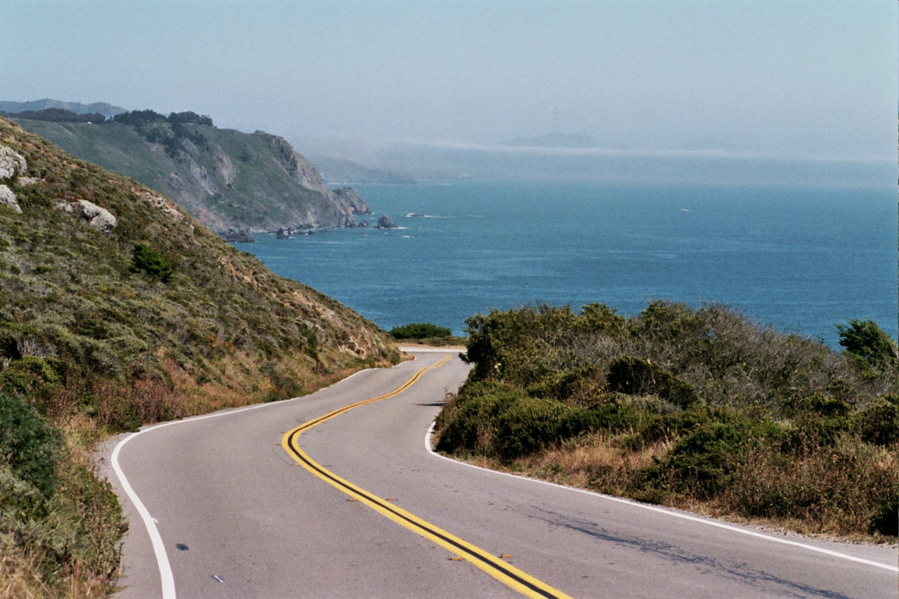 Highway 1 looking South (see Sutro Tower?), near Stinson Beach.